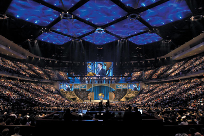 Interior of Lakewood Church sanctuary, Grand Opening