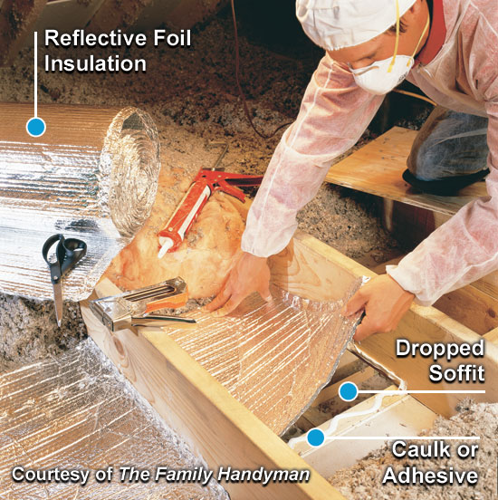 cover dropped soffits after removing insulation from a dropped soffit cut a length of reflective foil or other blocking material rigid foam board works