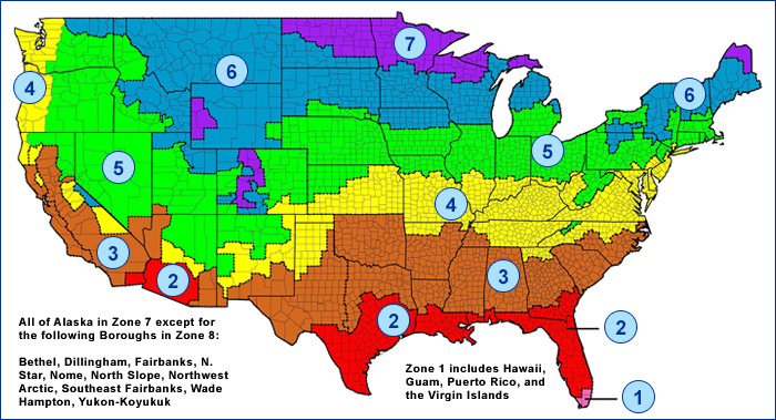This map shows the recommended R-level on insulation recommended by the U.S. Department of Energy