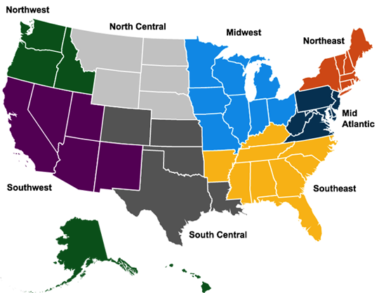 National map showing regions