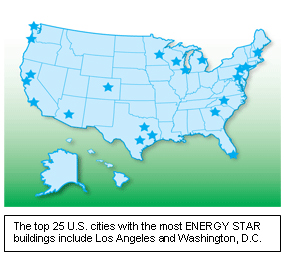 Map: The top 25 U.S. cities with the most ENERGY STAR buildings include Los Angeles and Washington, D.C.