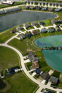 aerial view of a housing development