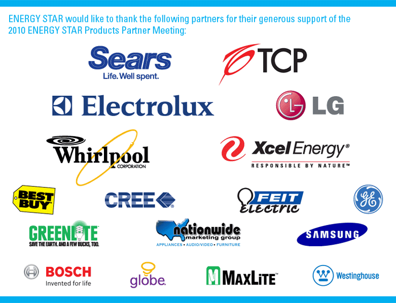 Logos of the various partners co-sponsoring the 2010 ENERGY STAR Partner meeting