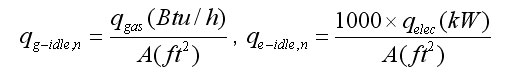 mathematical formula normalizing the idle energy rates for gas and electric griddles