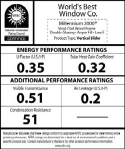 NFRC Label for windows and skylights