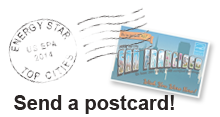 Send a postcard. Show your hometown pride by sharing your city's postcard via social media!