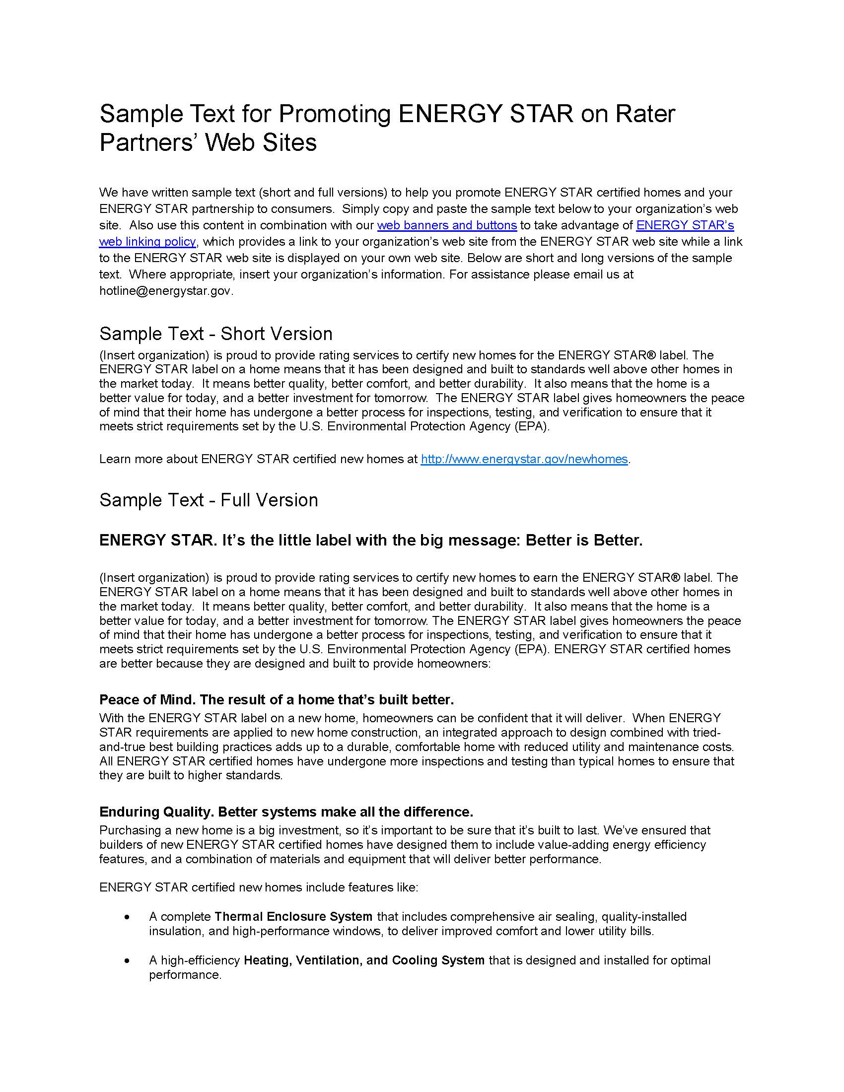 ENERGY STAR Homes Web Linking Sample Text - Verification Organizations