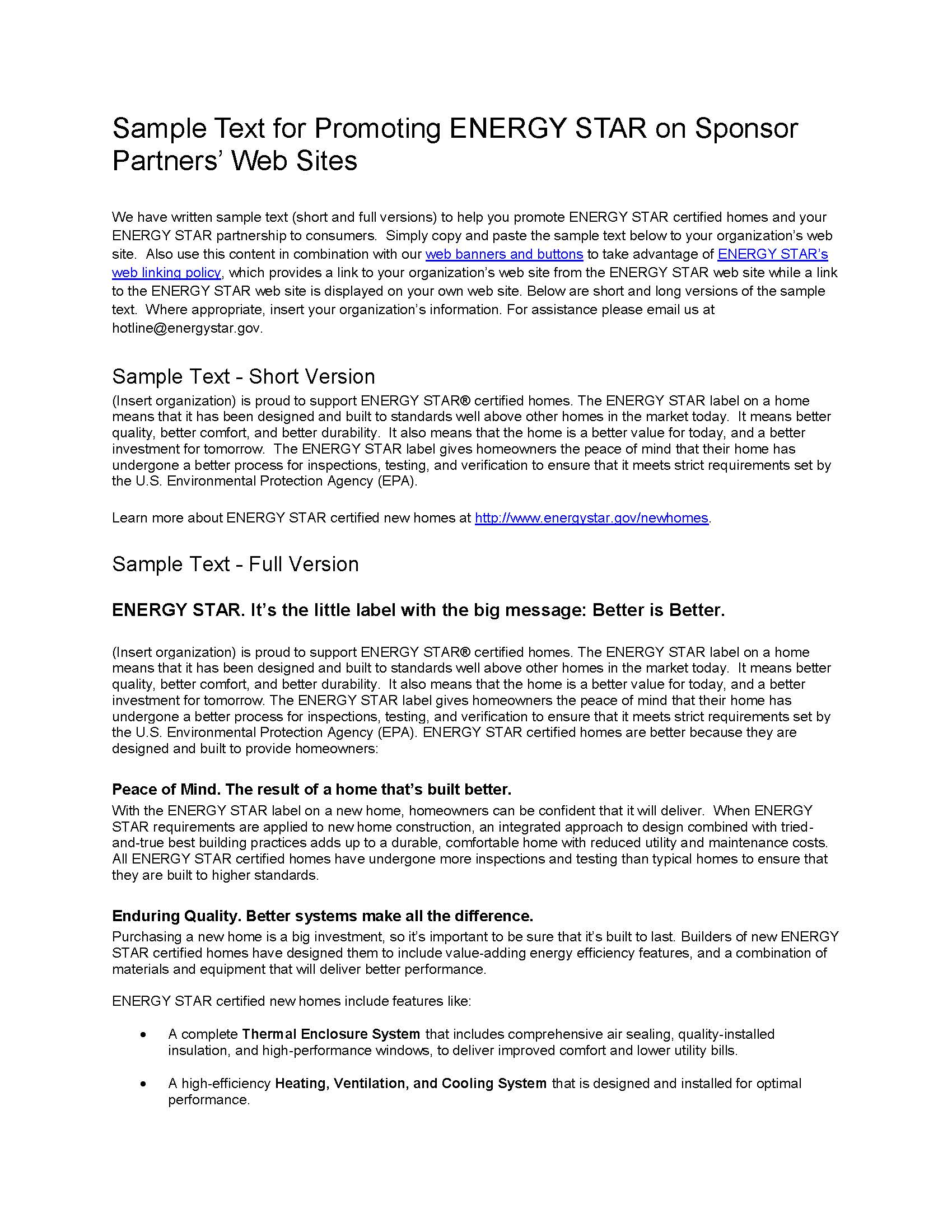 ENERGY STAR Homes Web Linking Sample Text - Program Sponsors