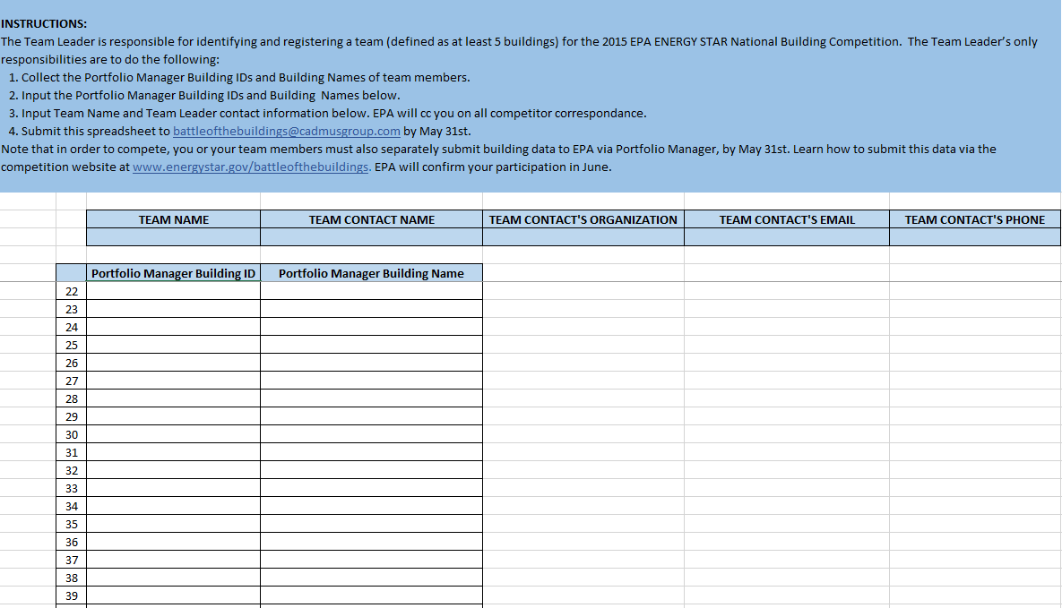2015 National Building Competition team registration spreadsheet