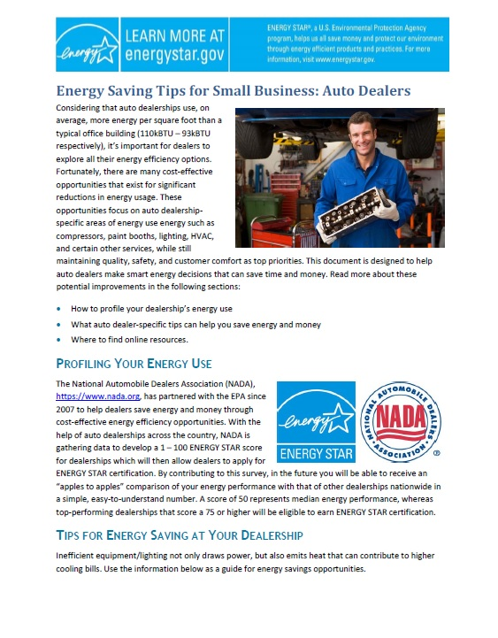 First page of Energy Saving Tips for Small Business: Auto Dealers.