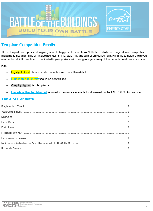 First page of Build Your Own Battle Template Competition Emails