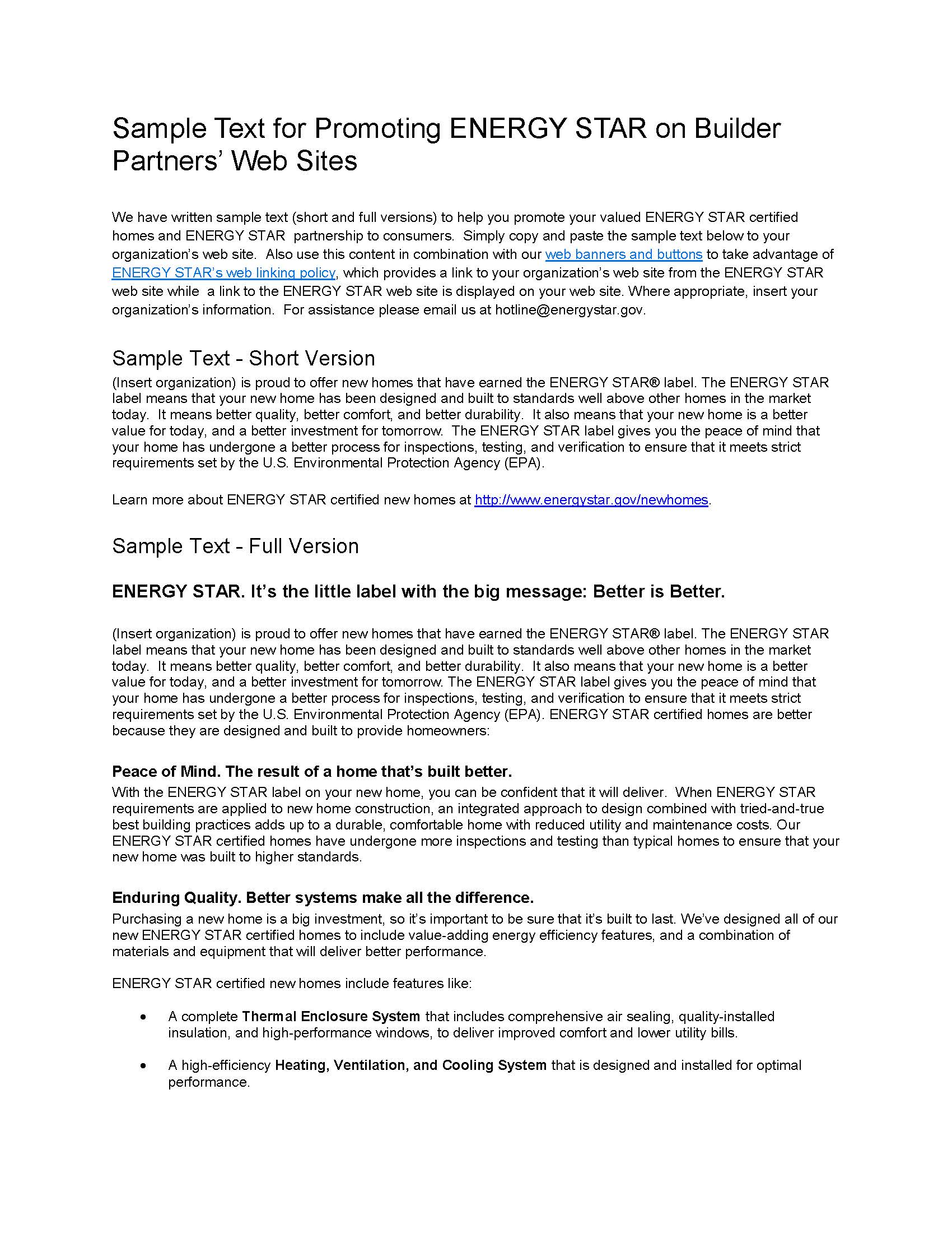 ENERGY STAR Homes Web Linking Sample Text - Builders