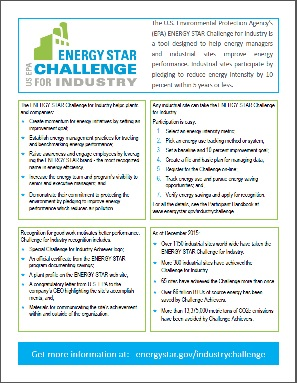 Factsheet overview of the ENERGY STAR Challenge for Industry