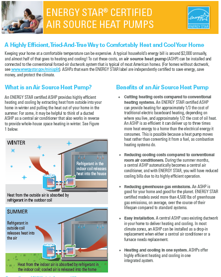ENERGY STAR Certified Air Source Heat Pumps Fact Sheet