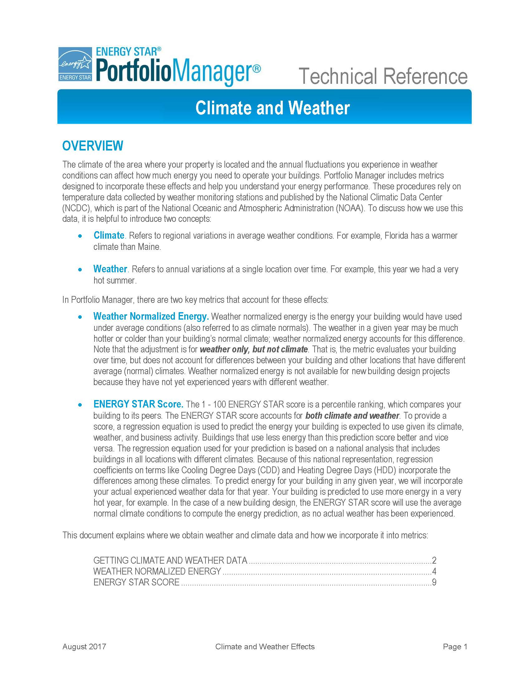 Screen shot of first page of Portfolio Manager Technical Reference: Climate and Weather