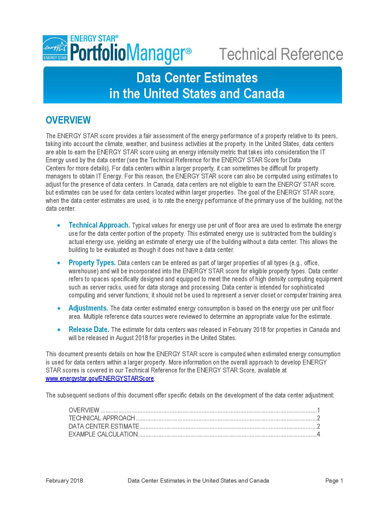 This is a screenshot of the first page of the technical documentation for Data Center Estimates in Canada.