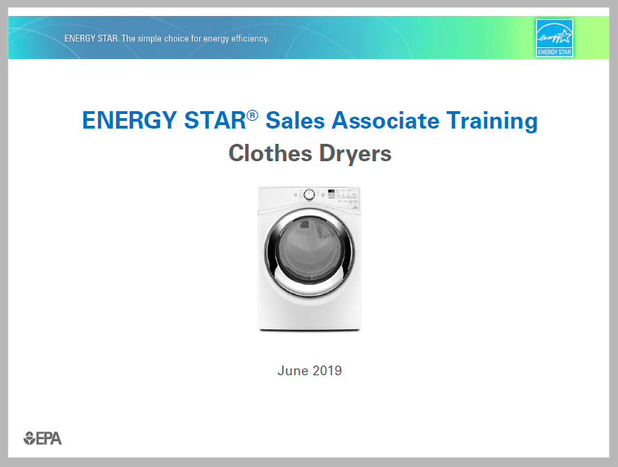 Clothes Dryer Sales Associate Training 2019