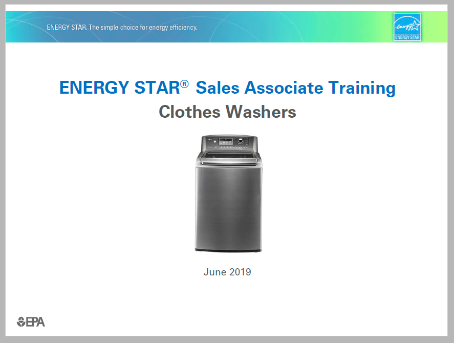 Clothes Washer Sales Associate Training 2019