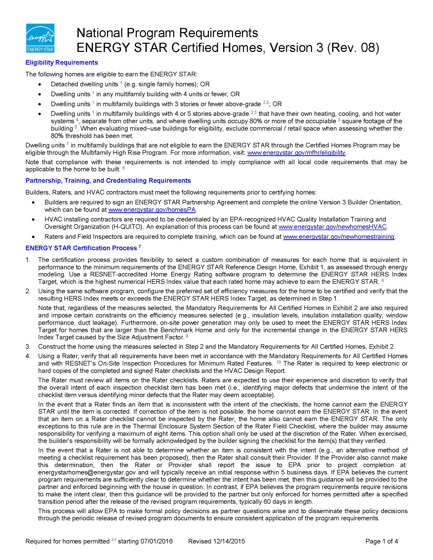 Page 1 of ENERGY STAR Homes National Program Requirements