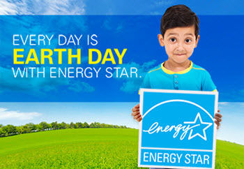 Every day is Earth Day with ENERGY STAR, and boy holding the ENERGY STAR logo