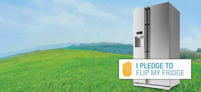 "An image of a refrigerator with ""I Pledge to Flip my Fridge"" on it"
