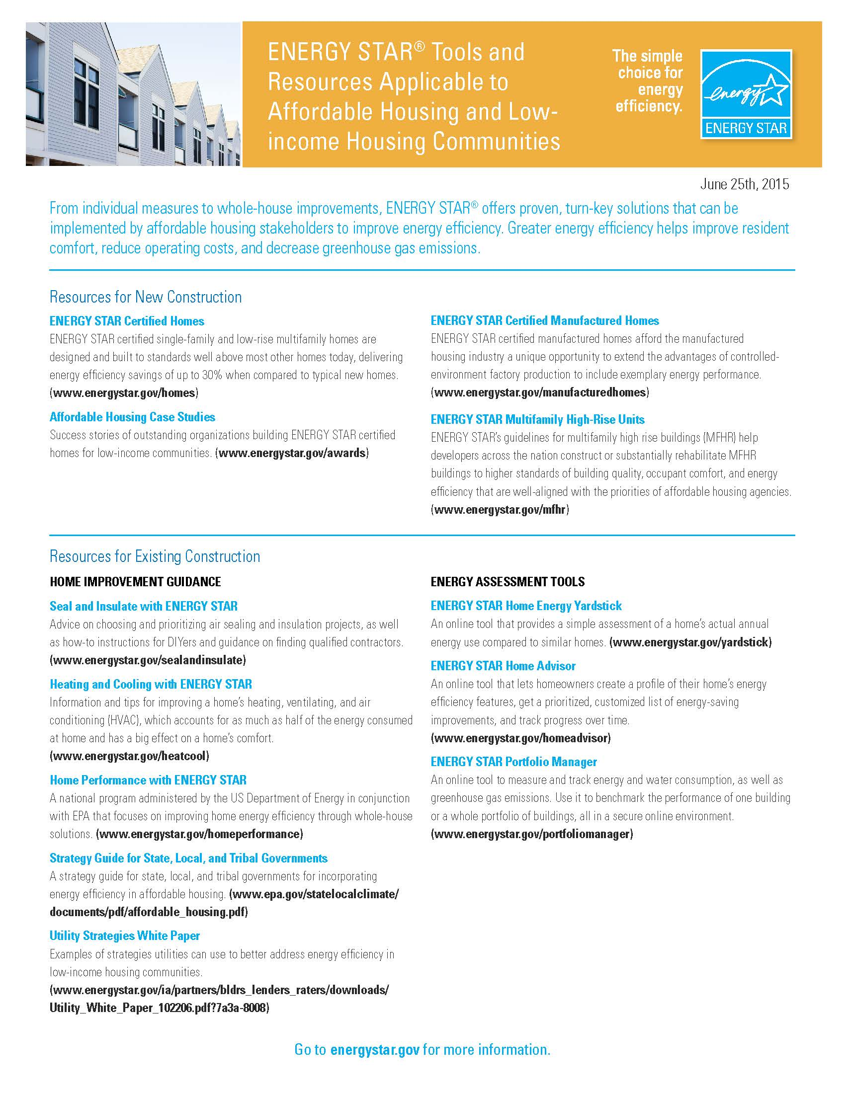 Fact Sheet - ENERGY STAR Resources for Affordable Housing