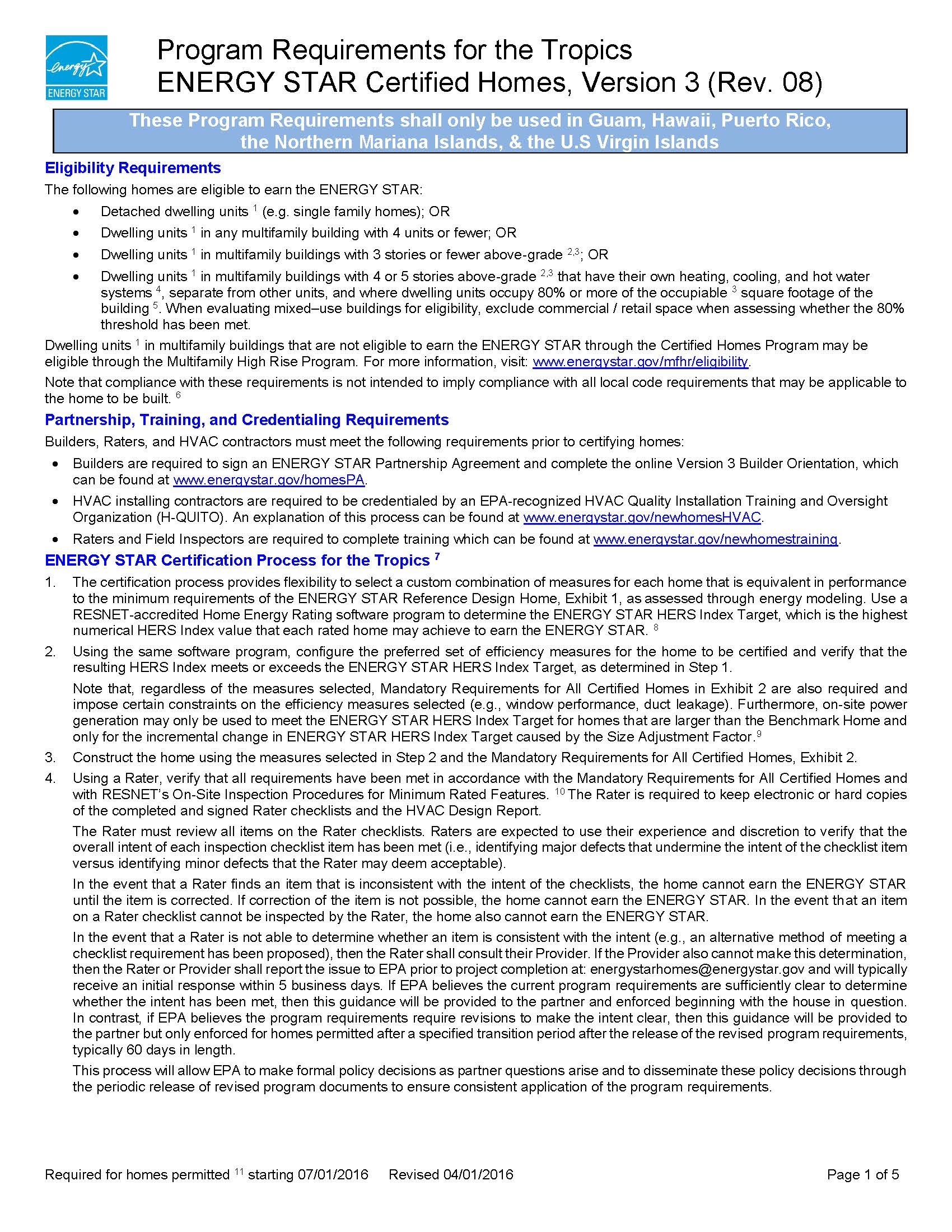 Page 1 of Regional ENERGY STAR Homes Version 3 Requirements for the Tropics
