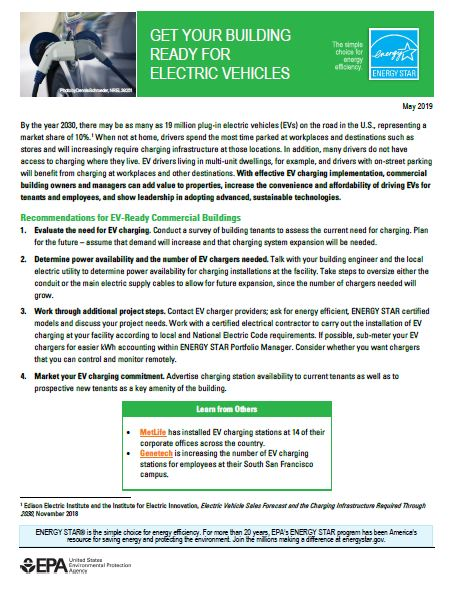 Screenshot of first page of EV readiness fact sheet