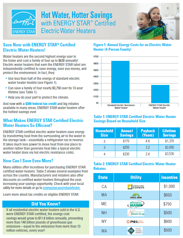 ENERGY STAR Electric Water Heater Factsheet thumbnail