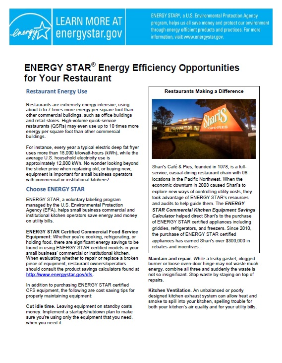 First page of the ENERGY STAR for Small Business Factsheet: Commercial Food Service document.