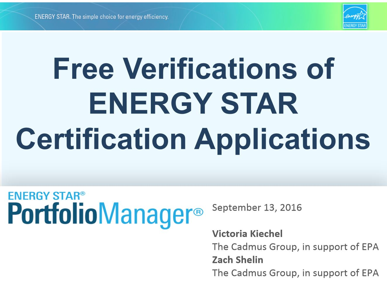 Free Verification of ENERGY STAR Certification Applications presentation