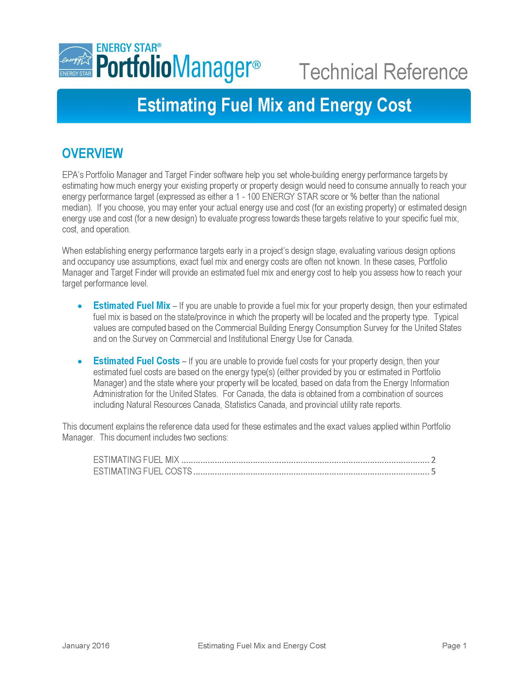 Portfolio Manager Technical Reference: Estimating Fuel Mix and Energy Cost - thumbnail