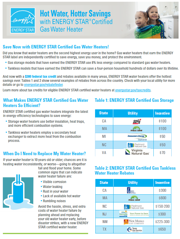 ENERGY STAR Gas Water Heater Factsheet thumbnail
