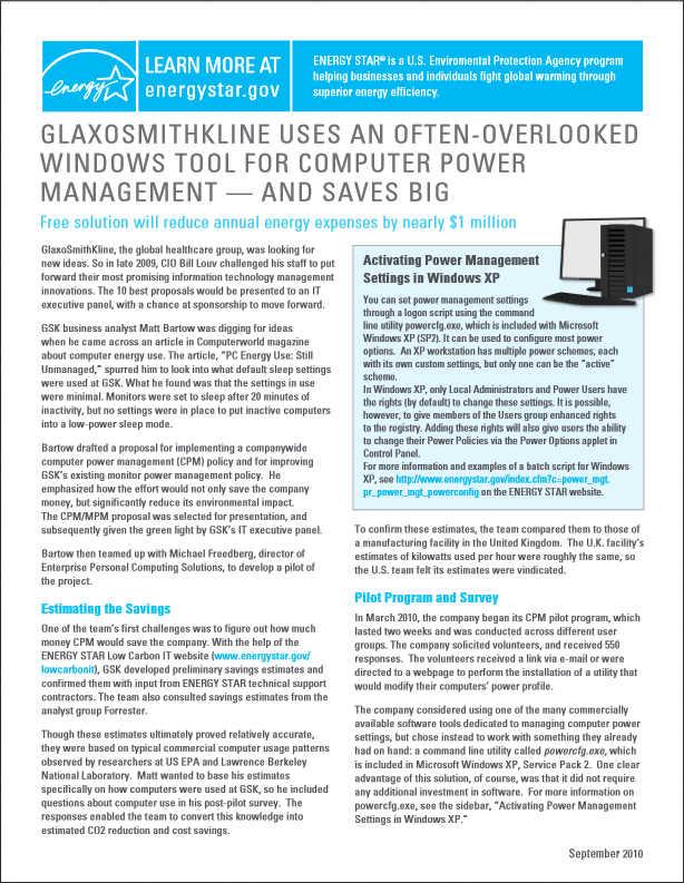 thumbnail of the GlaxoSmithKline Power Management Case Study