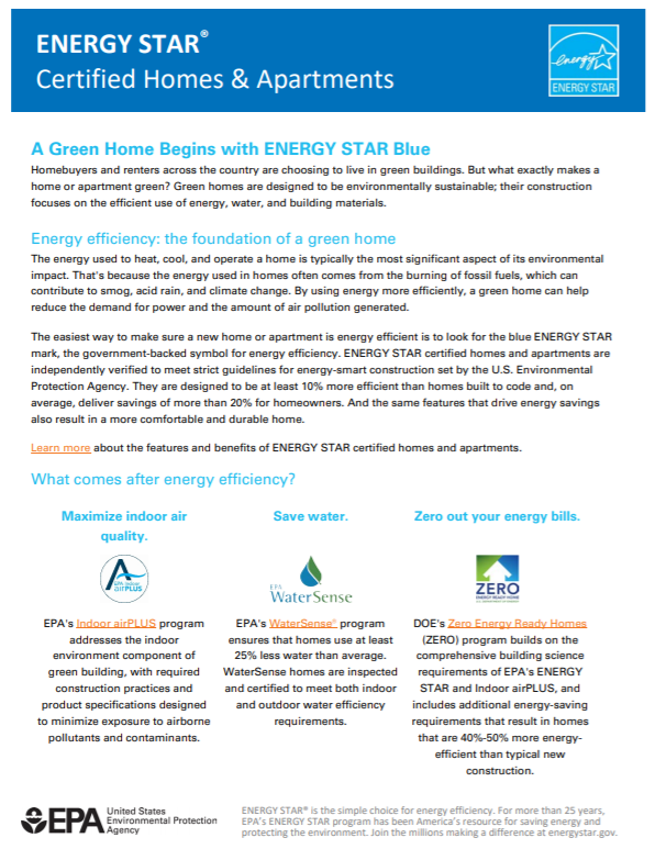 A Green Home Begins with ENERGY STAR Blue