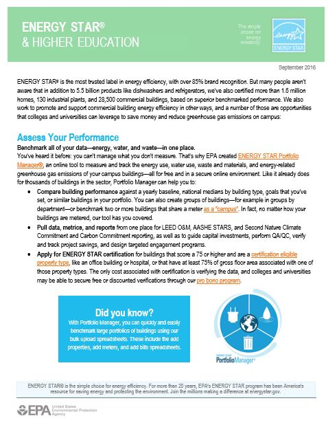 Overview of ENERGY STAR for the Higher Education Sector
