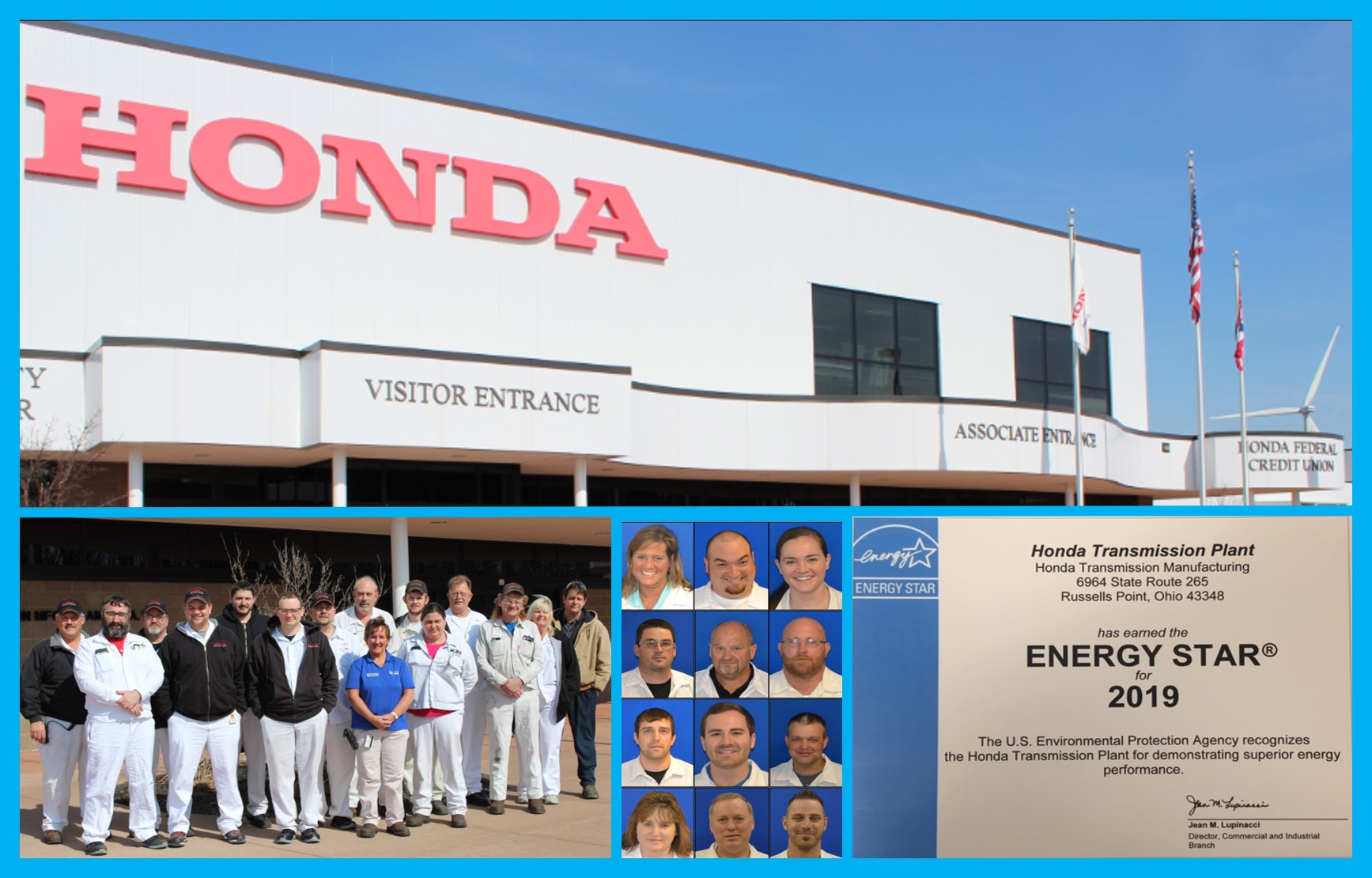 Honda transmission plant energy team in front of plant