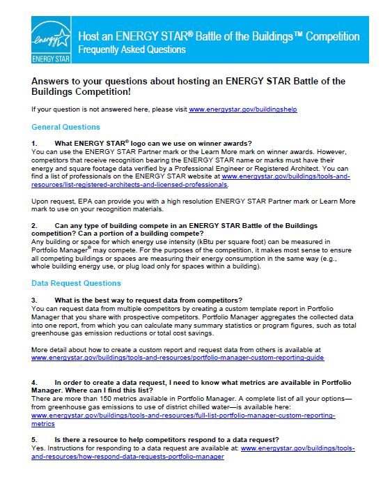 Host an ENERGY STAR Battle of the Buildings Competition FAQ