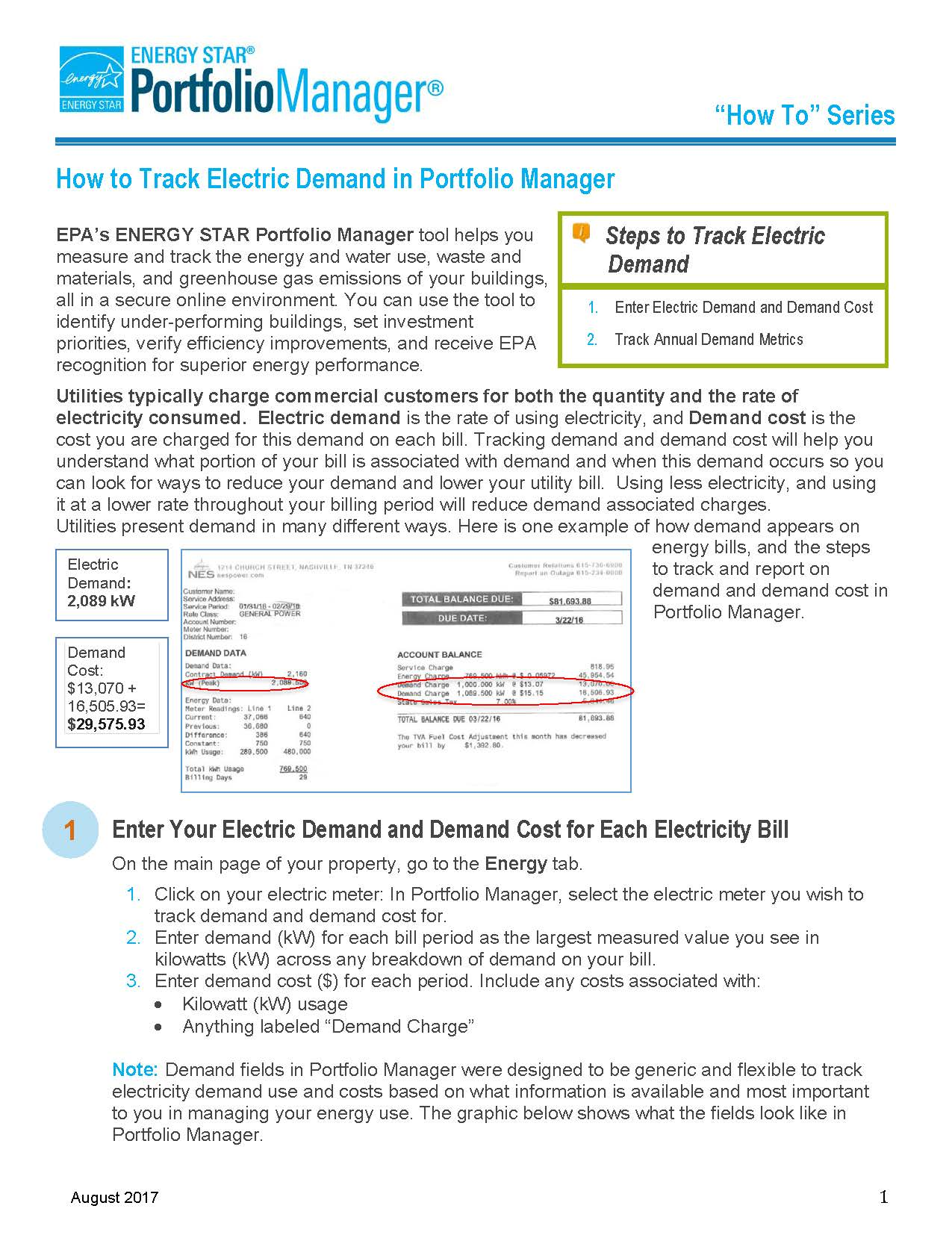 Screenshot of first page of How to Track Electric Demand in Portfolio Manager