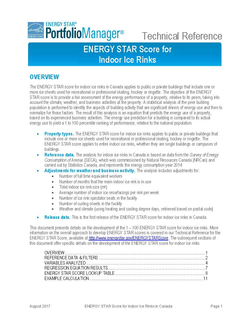 Screen shot of first page of ENERGY STAR Score for Indoor Ice Rinks in Canada