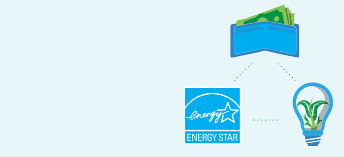 a wallet with money, the ENERGY STAR logo and a light bulb