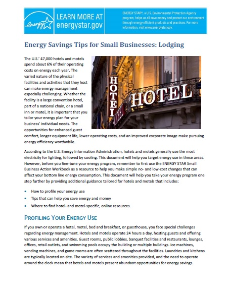 First page of Energy Savings Tips for Small Businesses: Lodging.