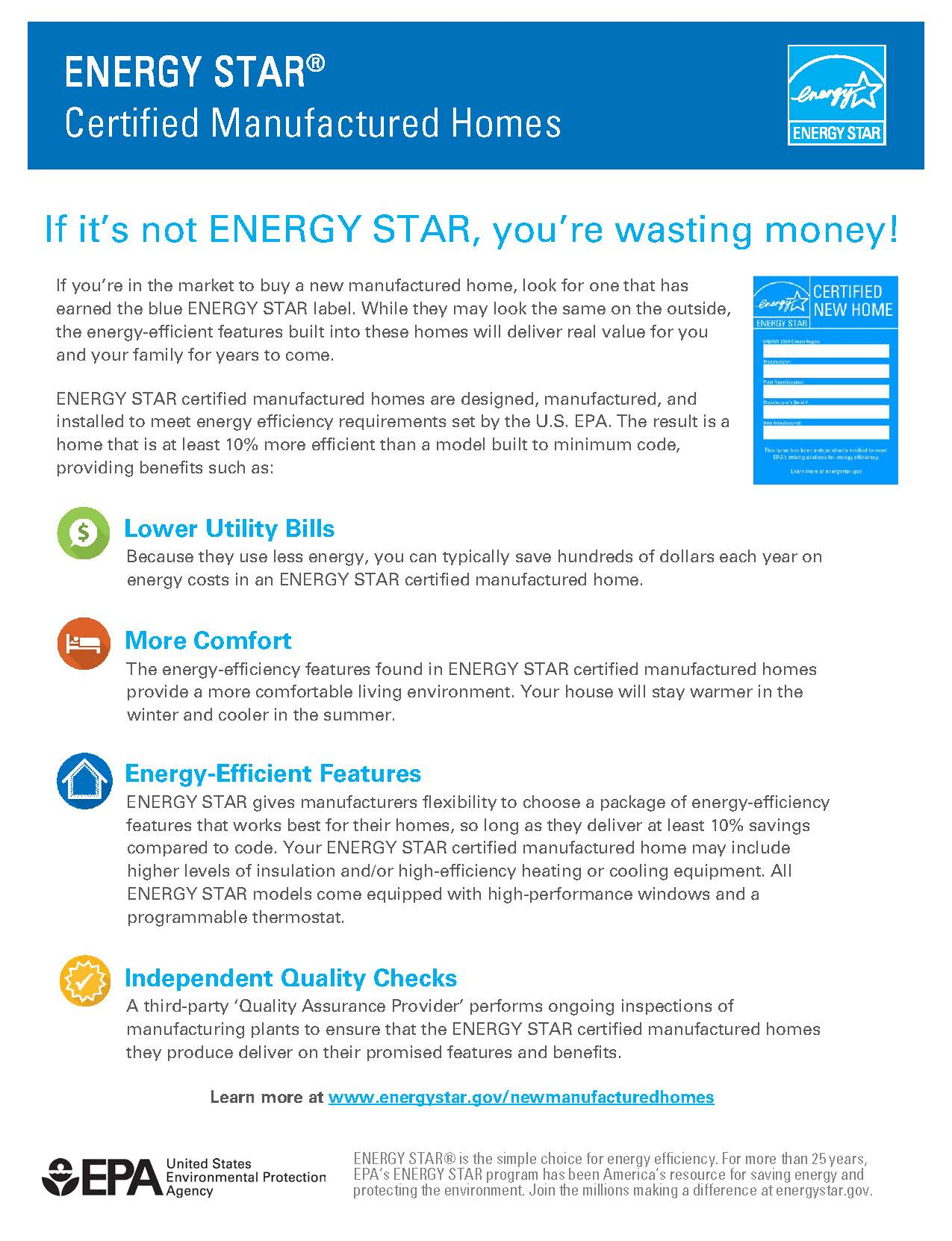 ENERGY STAR Certified Manufactured Homes Flyer