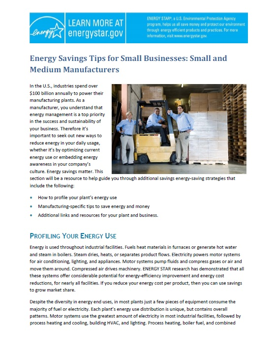 First page of Energy Savings Tips for Small Businesses: Small and Medium Manufacturers.