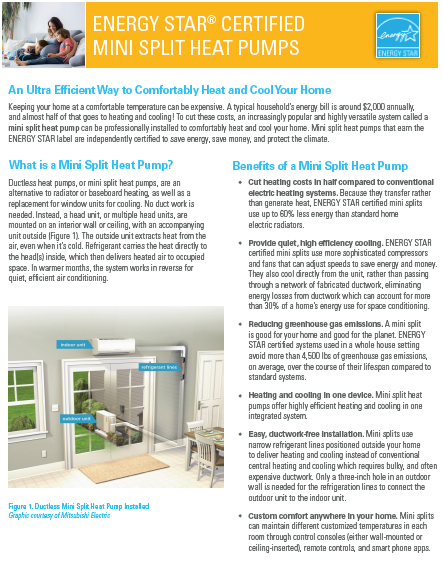 ENERGY STAR Certified Mini Split Heat Pumps Fact Sheet