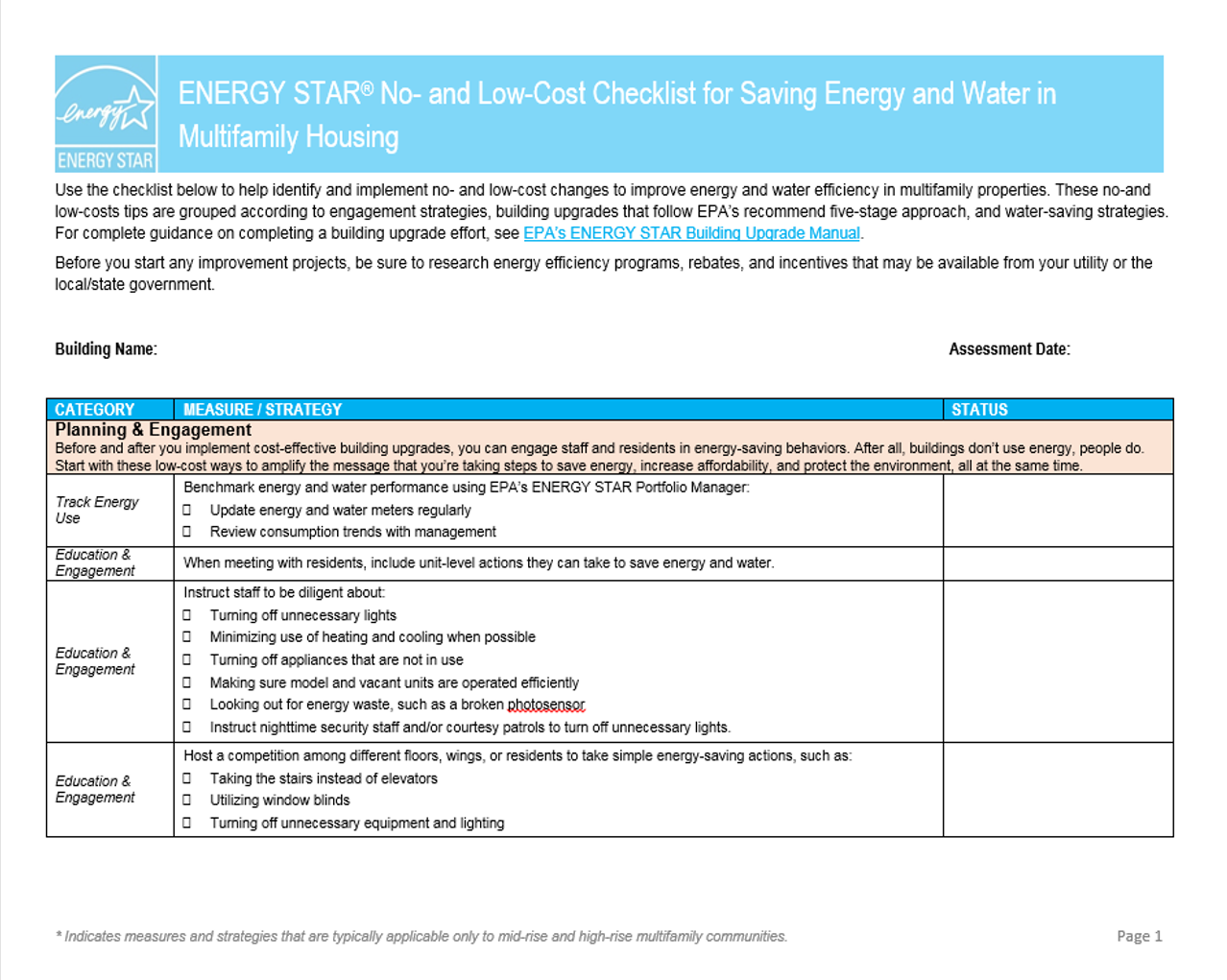 Thumbnail image of no- and low-cost checklist for multifamily housing