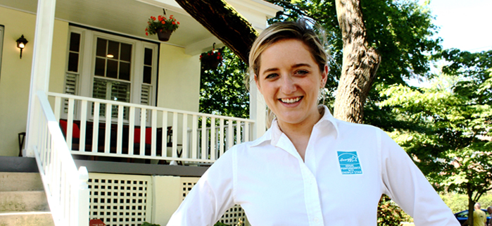 Woman wearing a shirt with an ENERGY STAR logo