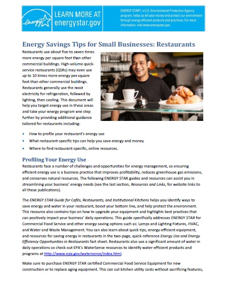 First page of Energy Savings Tips for Small Businesses: Restaurants.