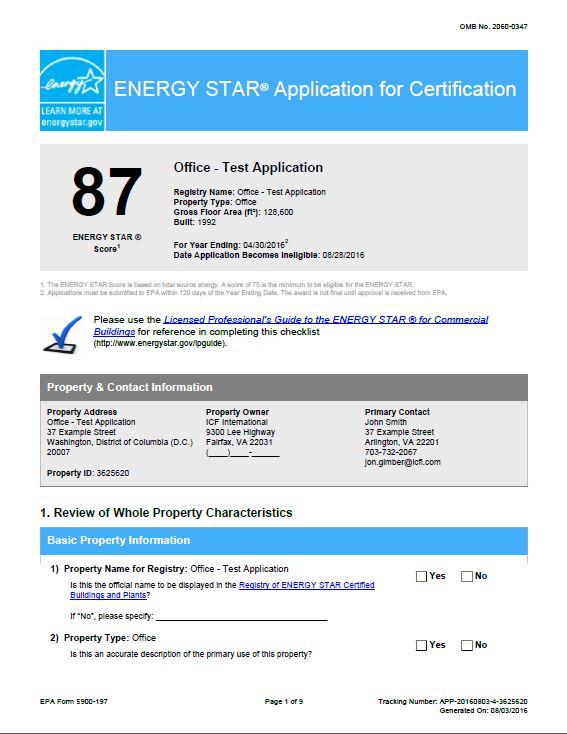 Sample ENERGY STAR Application for Certification