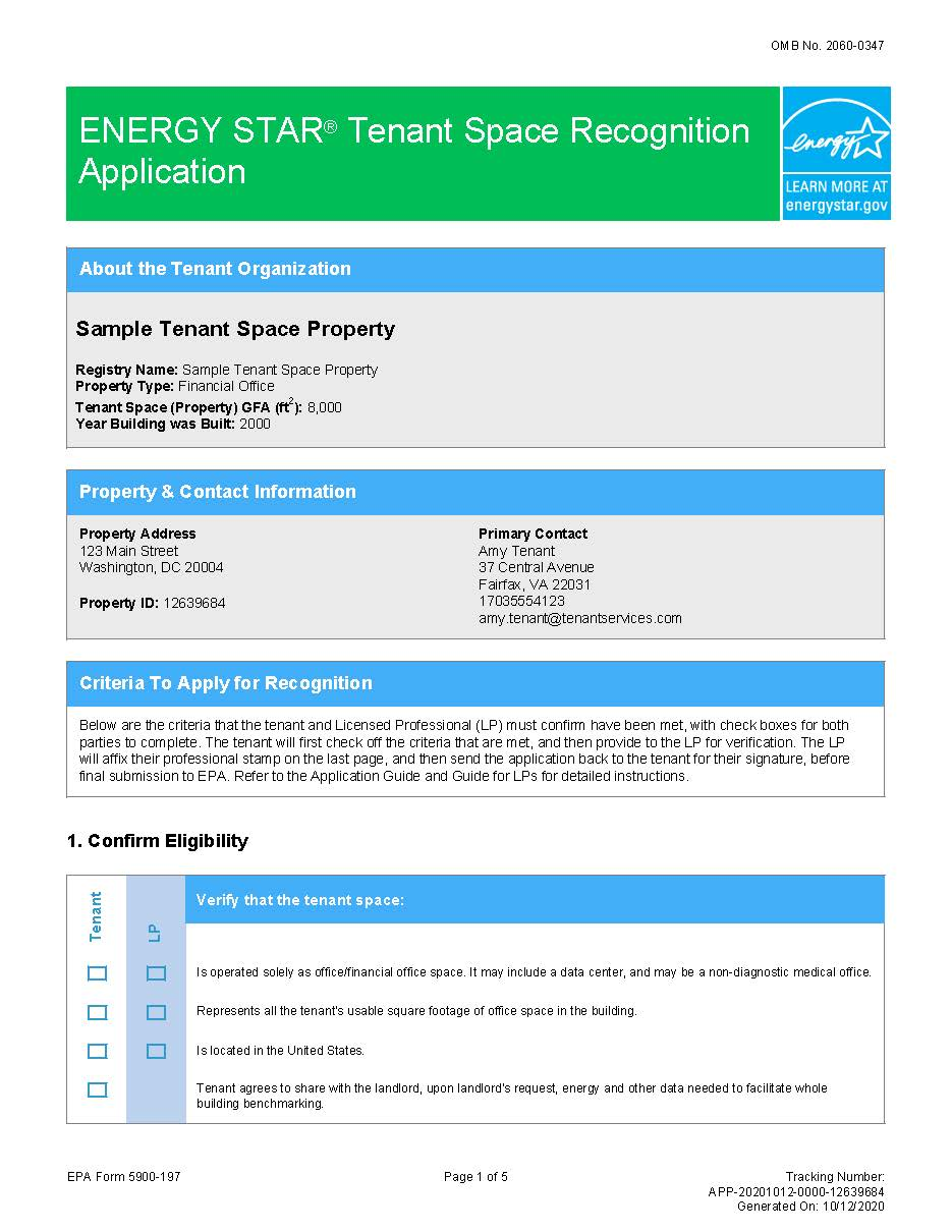 First page of sample application for ENERGY STAR Tenant Space recognition